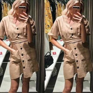 Zara Khaki Button Up Tencel Lyocell Dress 8342/116